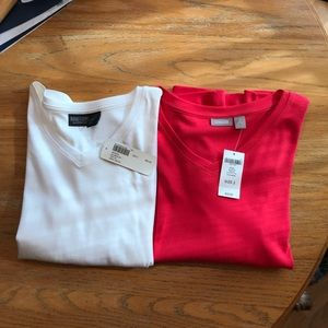 Chico 3/4 sleeve tops white & hot pink  ( 2 tops)